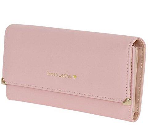 Minetom Donne Della Signora Frizione Lungo Della Borsetta Borse Borsa Cuoio Titolare Della Carta PU Leather Portafoglio Pink