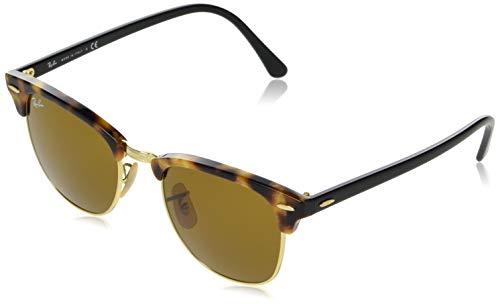 Ray-Ban Unisex Sonnenbrille Clubmaster Mehrfarbig (Gestell schwarz(Havana,Tortoise) Glas: braun 1160), Small (Herstellergröße: 51)