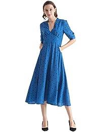 LILYSILK Silk Dress for Womens 3/4 Sleeve Winter Heart Mixed Polka Dot V Neck