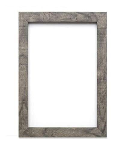 Cadre décoratif texturé, plat - Panneau arrière en MDF - Prêt à accrocher ou à poser - Avec une feuille Perspex en styrène transparent incassable, Bois dense, gris, A1