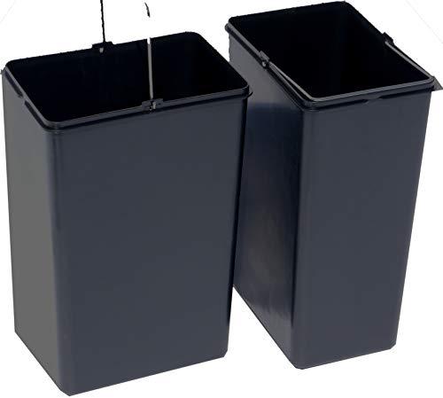 Made for us 15litros Cubo Interior de Repuesto para Cubo de Basura Cubo de Basura Sistema de separación de basuras (Contenedor de Basura 15L Cubo de plástico, plástico, Negro, 2 Unidades