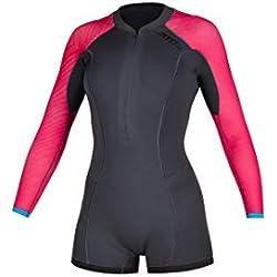 Mystic Combinaison de Plongée Watersports - Surf Kitesurf & Windsurfing Femmes Diva Long Sleeve 2mm Front Zip Shorty - Phantom Grey