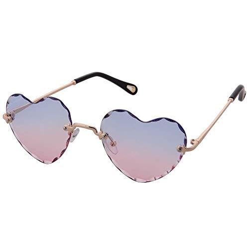 Ogobvck a forma di cuore gli occhiali da sole di moda rimless lenti donne ragazza gradiente occhiali colorati (pinkblue)