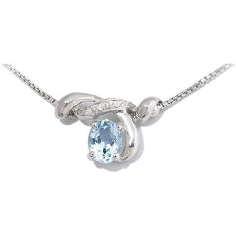 Gioie Girocollo Donna in Oro 18 carati Bianco con Acquamarina e Diamante H/SI (totale diamanti 0.01 ct), Cm 42, 7.3 Grammi