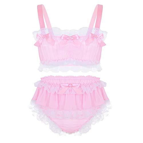 Herren Sissy Spitze Lingerie Nachtkleid Babydoll Dessous Reizwäsche Sleepwear Satin Kleid Negligee Nachtwäsche (X-Large, Rosa aus Chiffon) ()