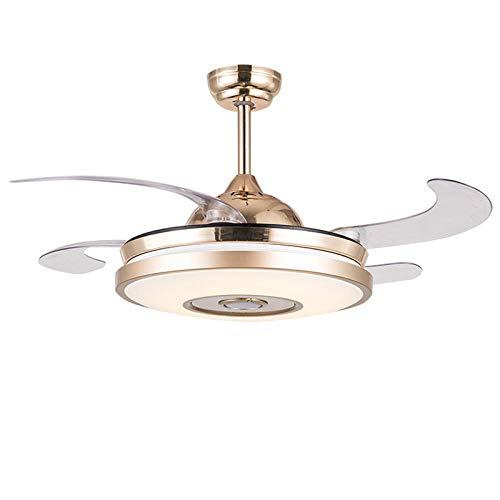 Moderne LED deckenventilator Licht leise Fan Lampe72W mit Fernbedienung Bluetooth Musik leiser Lüfter Deckenleuchte φ48cm (Badezimmer-ventilator Licht, Bluetooth Mit)