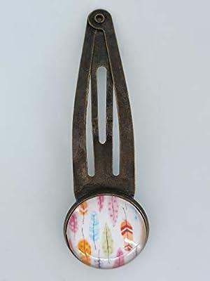 Barrette, pince à cheveux couleur bronze et cabochon rond en verre 18 mm. Plumes. BOHO style.