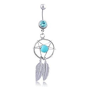 Daesar Körper Bauchnabelpiercing Silber mit Anhänger Traumfänger Dreamcatcher Blau/Rosa/Weiß Zirkonia Bauchnabel Ring Edelstahl Bauch Ring