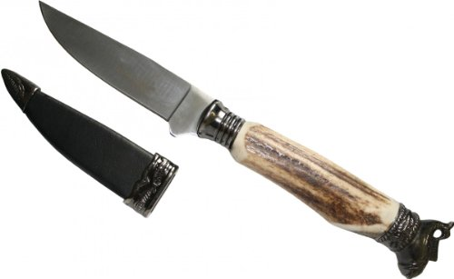 Trachtenmesser handgeschmiedet messer Hirschhorn horngriff mit Fisch-Figur