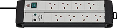 Brennenstuhl Premium-Line Duo, 8-way extension lead (surge protection, switch and 3m cable - 45° angle of sockets) colour: black / light grey