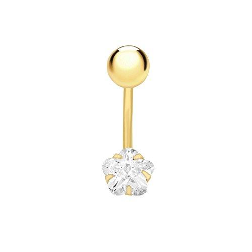 Carissima Gold - Piercing da Donna in Oro Giallo 9K (375) con Zirconia Cubica a Forma di Stella