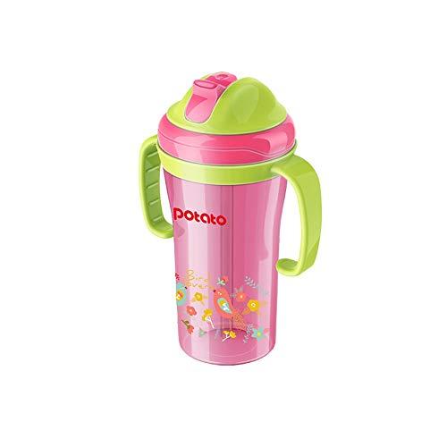 MEILA Babykindkind-Parkstroh, das Trinkwasser-Cup lecksicheres Anti-Fallhaus mit Griff 6-18 Monate lernt, schieben Sie Abdeckung dichtes buntes niedliches 280ml (Color : Red) - Flasche Baby-lernt