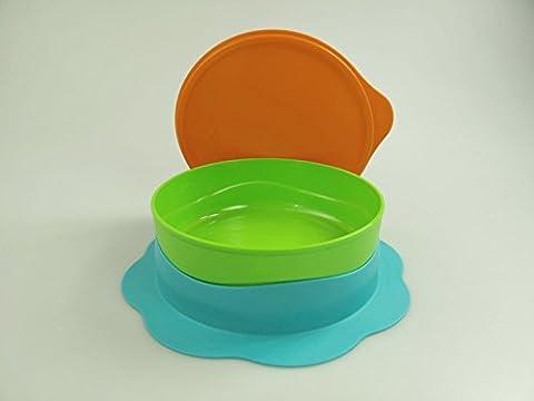 TUPPERWARE Kinder Teller 500 ml grün blau orange Baby rutschfester KinderTeller (Ventosa Piatti)