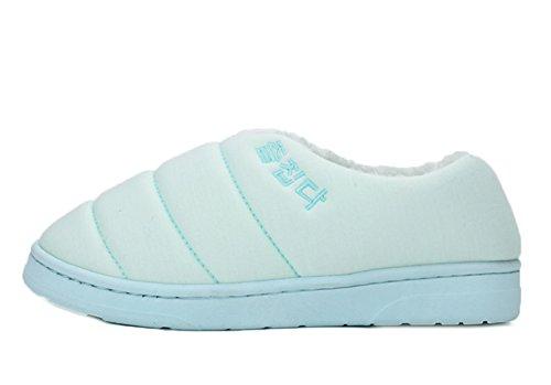 Icegrey Coton Chaussures Rembourrées Peluche Maison Plat Pantoufles Chaussons Couples Amoureux Bleu