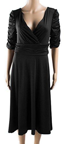 u-shot da donna elegante scollo a V vita alta elasticizzato per feste da ballo abito Black
