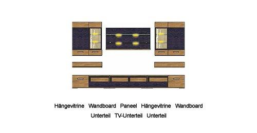 6-tlg. Wohnwand in Nussbaum Satin Nb. mit Fronten in Nussbaum Satin und Absetzungen in Pinie dunkel mit Touchwood, Maße: B/H/T ca. 300/200/48 cm - 5