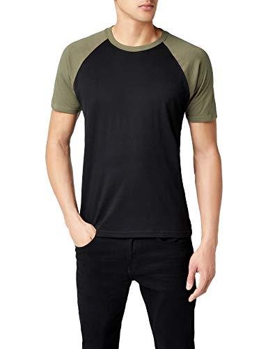 Urban Classics Herren Regular Fit T-Shirt Raglan Contrast Tee TB639, Gr. XXXX-Large (Herstellergröße: 5XL), Mehrfarbig (Black/Olive 00757) -