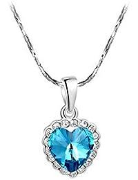 Veuer Schmuck für Damen Silberne Hals-Kette in Silber Herz-Anhänger in blau  Weiß-Gold Vergoldet in Silber mit… 86e6f6e47e