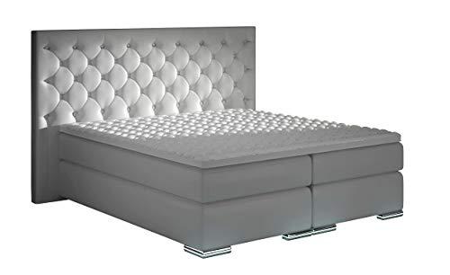 HG Royal Estates GmbH XXXL Boxspringbett Designer Boxspring Bett LED Chesterfield Weiss Größe 160 x 200 cm