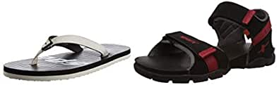 Sparx Men's Combo of Casual Shoes and Outdoor Sandals Grey and Black 6 UK
