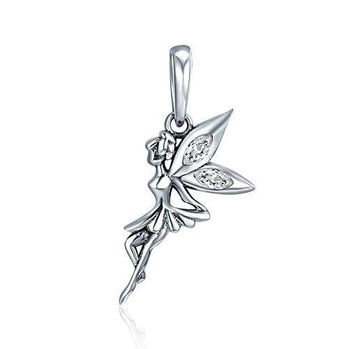 LVYE1 Blumenfee Anhänger 925 Sterling Silber Halskette Armband anhänger Frauen/Mädchen Halskette Zirkonia Modische Accessoires Feiertagsgeschenk für ()