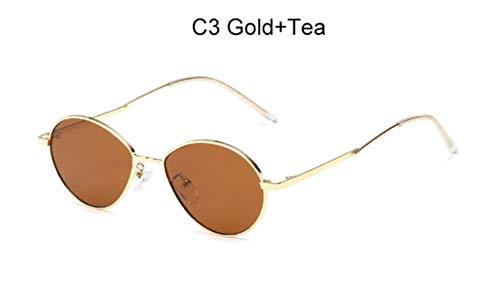 Cranky Orange 2019 Trending Damen Kleine Ovale Sonnenbrille Retro runder Metallrahmen Bonbonfarben Fashion Men Clear Red Lens Shades Spiegel, C3 Gold Tea