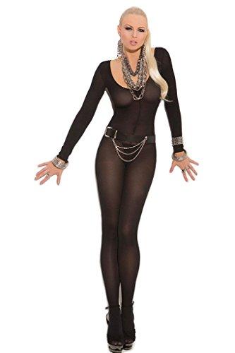 Preisvergleich Produktbild Loveours Sexy Listig Lange Ärmel Overall Bodystocking Unterwäsche (Schwarz)