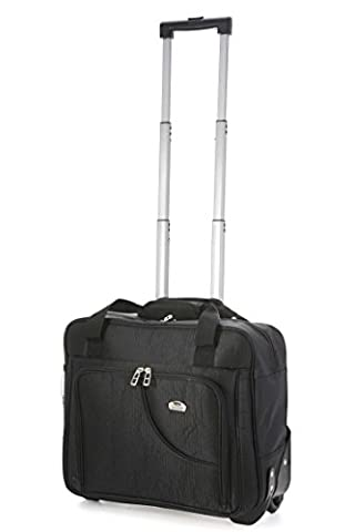 Aerolite Roller Case Business Cabin-Sized Laptop Rolling Carry-On Trolley Bag, Black