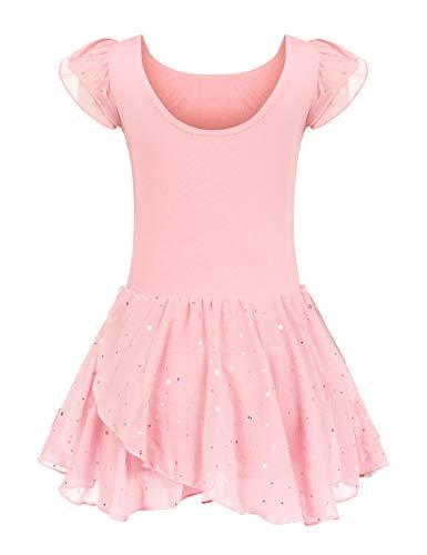 Kinder Ballettkleidung Ballettkleid Mädchen Kurzarm Baumwolle Balletttrikot Ballettanzug Tanzkleid Tanzbody mit Rock Tütü, 130, Rosa (Kostüm Und Tanzkleider)