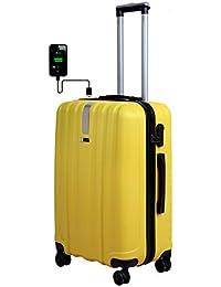 3G Atlantis Smart Series ABS 24 Inch Check in Size 4 Wheel Hard Sided Orange Unisex Trolley Travel Bag