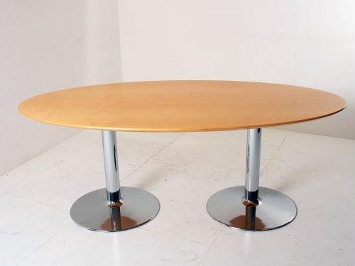 Konferenz- und Besprechungstisch, oval, 200x100cm, Buche hell auf Chromfüßen -