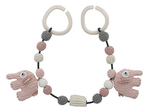 Sebra - Häkel-Kinderwagenkette - Woll- Kinderwagenkette - Fanto der Elefant - Grapefruit pink/rosa