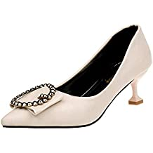 Covermason Zapatos Zapatos de tacón bajo de mujer, salón de punta estrecha Zapatos sueltos