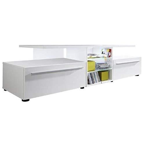 VERSION Meuble TV LED contemporain melamine blanc mat et brillant - L 160 cm