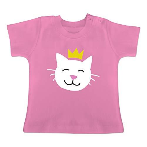 Tiermotive Baby - Katze Prinzessin - 12-18 Monate - Pink - BZ02 - Baby T-Shirt Kurzarm
