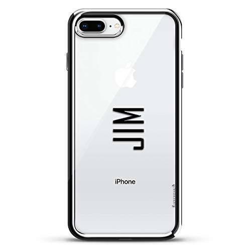 Luxendary Designer, 3D Printed, Fashion, High End, Premium, Chrome Trim Cell Phone Case for iPhone 8/7 Plus - Silver Name: Jim, Modern Font Style