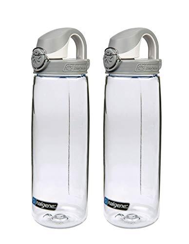 2x Nalgene Trinkflasche Everyday OTF, transparent, Deckel grau-weiss