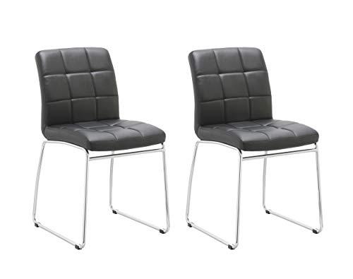 Duhome Elegant Lifestyle 2er Set Küchenstuhl Schwarz Esszimmerstuhl aus Kunstleder Gestell verchromt TYP 732