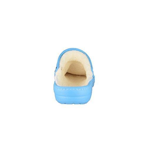 BTS Kinder-Clogs bequem und warm, Hausschuhe mit Innenfutter und Fersenriemen, Gr. 30-35 Blau