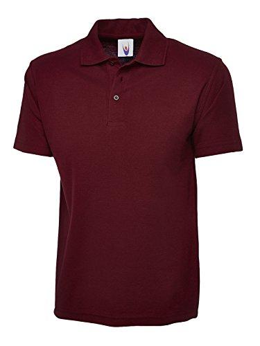 Pique Polo Maroon (Uneek Clothing Herren Polo Shirt Poloshirt Rot Maroon XL)