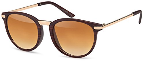 Vintage Sonnenbrille im 60er Style mit trendigen bronzefarbenden Metallbügeln Panto - Retro Brille (Holzoptik)