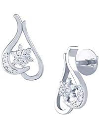 TBZ - The Original 18KT White Gold and Diamond Stud Earrings for Women