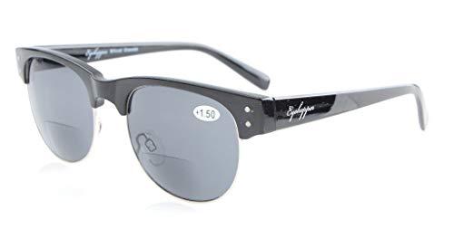 Eyekepper Retro Ovale runde Halbe Bifokale Sonnenbrillen Schwarz +2.0