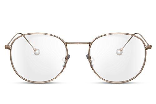 Cheapass Sonnen-Brille Rund Transparent Durchsichtig Metall-Rahmen Gold Hipster Geek UV-400 Damen Herren