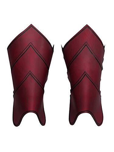 Andracor - Fantasy Armschienen aus echtem Leder - Schuppendesign und geflammte Optik - in Mehreren Farbvarianten erhältlich - LARP Mittelalter Wikinger & Steampunk - rot