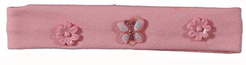 Bandeau Cheveux pour Enfant en Textile et Plastique - Fleur Papillon - Rose Clair