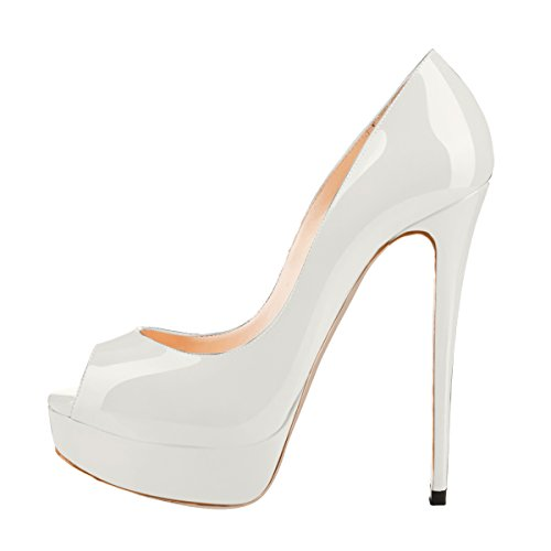 onlymaker Women's Extreme High Fashion Peep Toe Pumps Handmade for Wedding Party Dress Stiletto Slip On Shoes White UK9