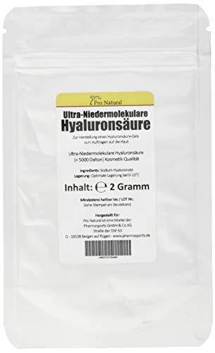 2g Hyaluronsäure Pulver - Ultra Niedermolekulare Hyaluronsäure <5000 Dalton - Herstellung Gel / Creme / Kosmetik - 4g Health