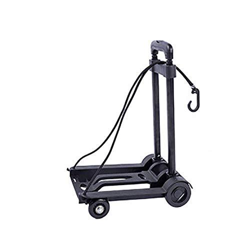 Carrito plegable con 4 ruedas de goma 2 cuerdas elásticas carretilla pesada multifunción carrito de mano plegable portátil carrito de la compra negro para limpieza de la casa