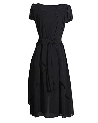 Donna Vestito Lungo di Chiffon Manica Corta Maxi Abito da Sera con Cintura Nero